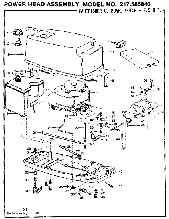 75 1975 Mercury Chrysler Outboard 757hb Motor Leg Diagram And Parts